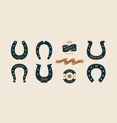 Lucky horseshoe set horseshoes vector