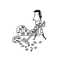 man cleaning garden cartoon vector image