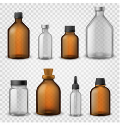 Medical glass bottles 3d realistic brown blank vector