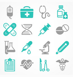 Medical icons in grey blue vector