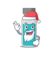 medical test bottle santa with cute ok finger vector image