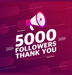 Megaphone with 5000 followers banner vector