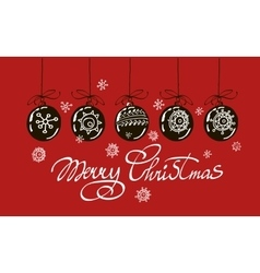 Merry Christmas hand lettering isolated on red vector