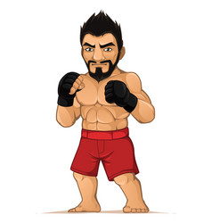 Mma fighter man in the fighting stance vector