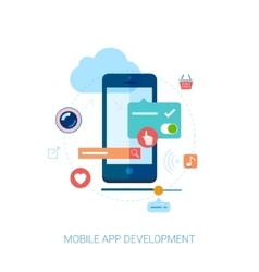 Mobile app development for smartphone and ad flat vector