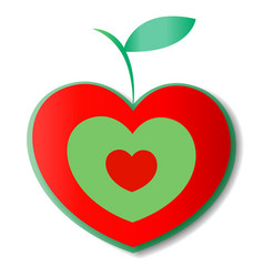 natural apple logo heart icon vector image
