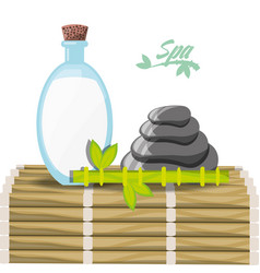 natural product with stones and bamboo vector image