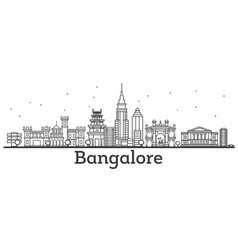 Outline bangalore skyline with historic buildings vector