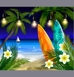 Palm trees at night vector