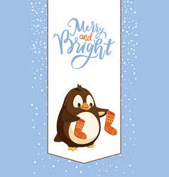 penguin with knitted socks merry christmas card vector image