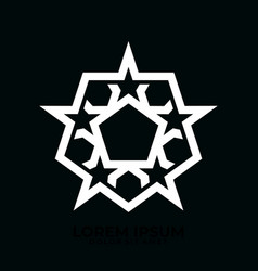 pentagonal star logo template with military symbol vector image
