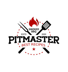 pitmaster barbecue logo stamp vector image