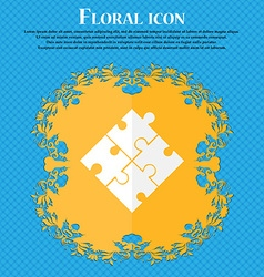 Puzzle piece icon sign Floral flat design on a vector