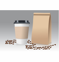 realistic take away paper coffee cup and brown vector image