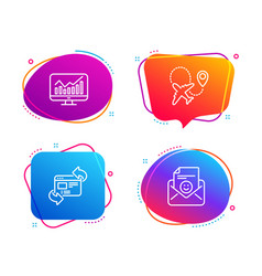 refresh website statistics and airplane icons set vector image