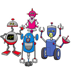 robots or droids cartoon characters group vector image