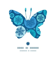 Round snowflakes butterfly silhouette pattern vector