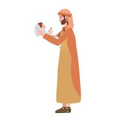 Saint joseph lifting jesus bamanger characters vector