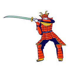 Samurai character wearing traditional japanese vector