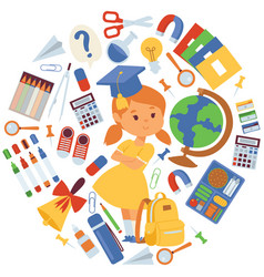school items girl with vector image