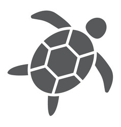 Sea turtle glyph icon animal and underwater vector