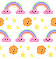 Seamless pattern with rainbow and clouds vector
