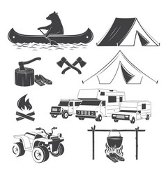 Set hiking and camping icons isolated vector