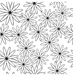 Silhouettes of daisies in black as a seamless vector image