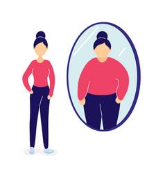 Slim woman seeing herself fat in mirror vector
