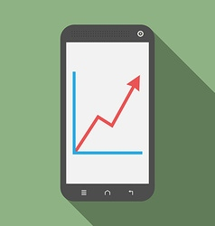 Smartphone with growth graph vector
