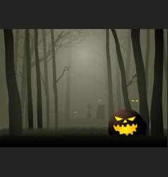 Spooky cemetery in woods vector