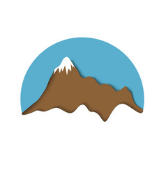 Stylized paper snowy mountain landscape vector