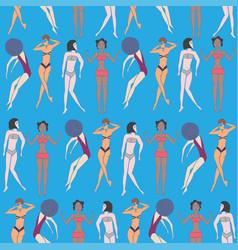 Summer seamless pattern doodled women vector