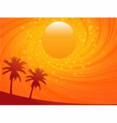 summer sunset and palm treese vector image