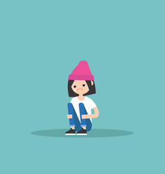 Upset crying girl sitting and hugging her knees vector