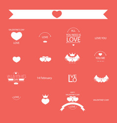 Valentine set of retro vintage badges and labels vector