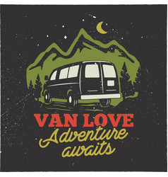 Vintage hand drawn camp logo badge van love vector