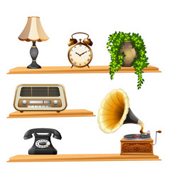 Vintage items on wooden shelves vector