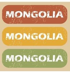 Vintage Mongolia stamp set vector