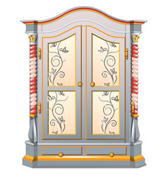 Vintage wardrobe with patterned ornament isolated vector