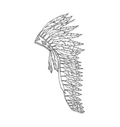 warbonnet feather hat coloring page fashion vector image