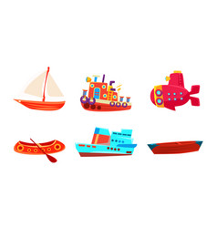 Water transport set colorful toy boat yacht vector