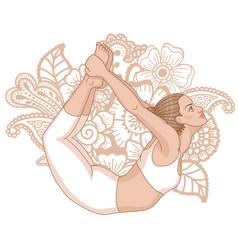women silhouette bow yoga pose dhanurasana vector image