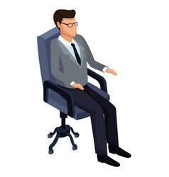 businessman on office chair 3d vector image