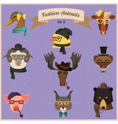 Fashion hipster animals set 5 vector