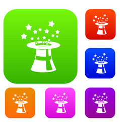 magic hat with stars set collection vector image vector image