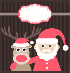 christmas card with cute deer and santa claus vector image