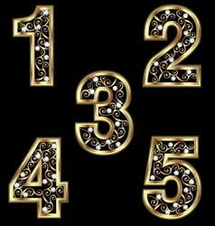 Gold numbers with swirly ornaments vector image vector image