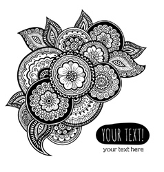 Greeting card with Zen-tangle ornament vector image vector image