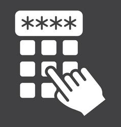 hand finger entering pin code solid icon unlock vector image vector image